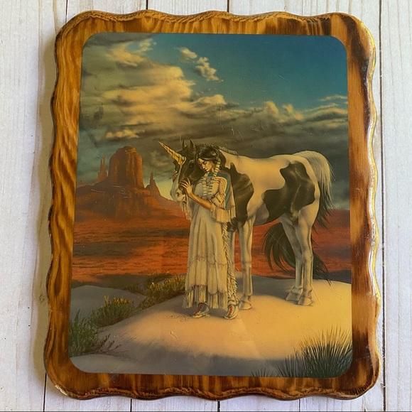 Vintage '85 Sue Dawe glossy art on wood
